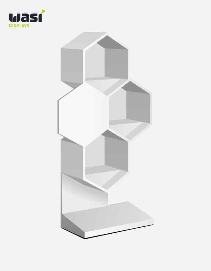 Weißes Bodendisplay vom Entwickler für Werbedisplays Wasi Displays