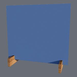 Hygieneschutz aus blauem Acryl mit Holzfüßen
