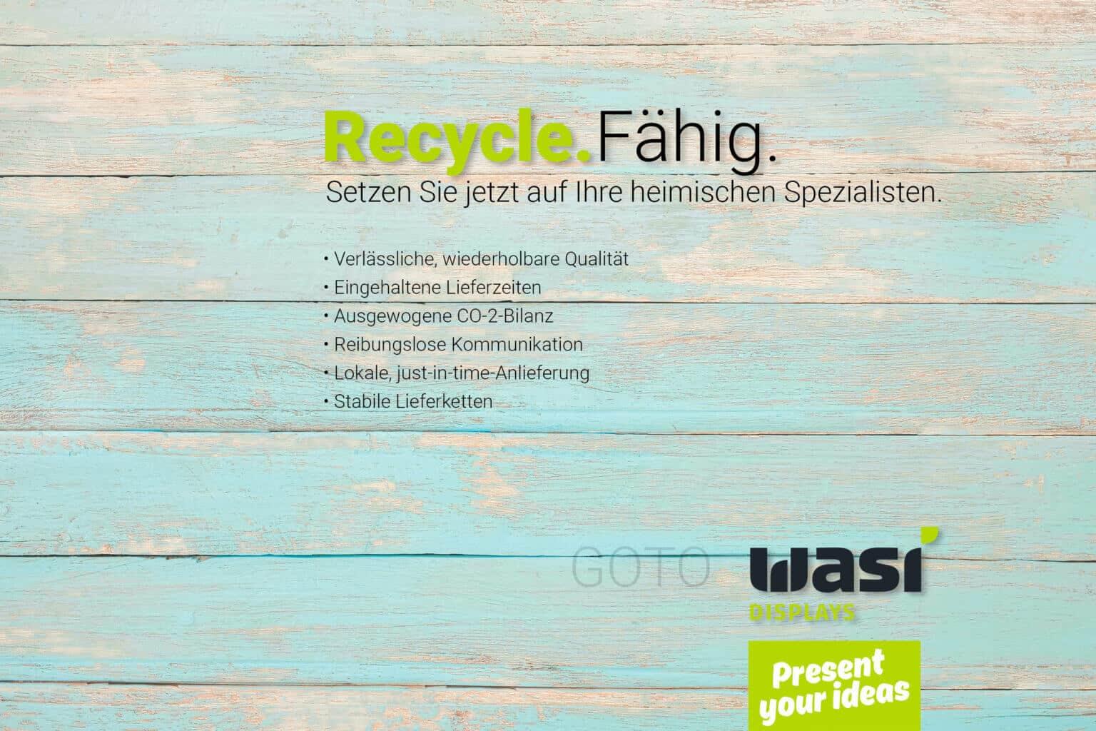 Slider zur Recyclefähigkeit von Warendisplays deutscher Displayhersteller