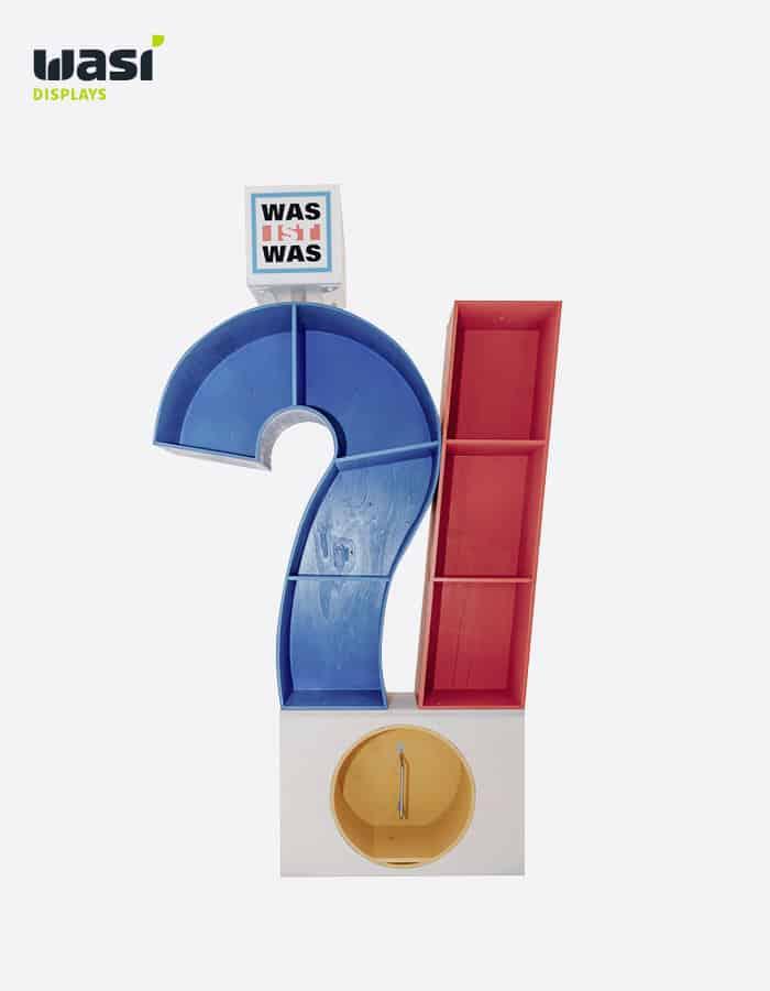 Bodendisplay Frage- und Ausrufezeichen im Was-ist-Was-Stil vom POS Display Hersteller