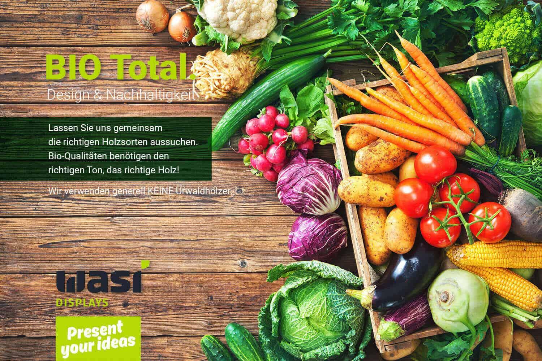 Slider für Verkaufsdisplays aus Holz mit Bio-Gemüse und Aufschrift