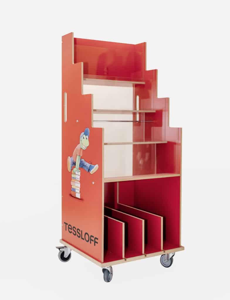 Werbeaufsteller veredelt in rot mit Digitaldruck und Rollen