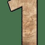 Zahl eins in Holzoptik