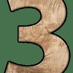 Zahl drei in Holzoptik