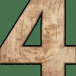 Zahl 4 in Holzoptik