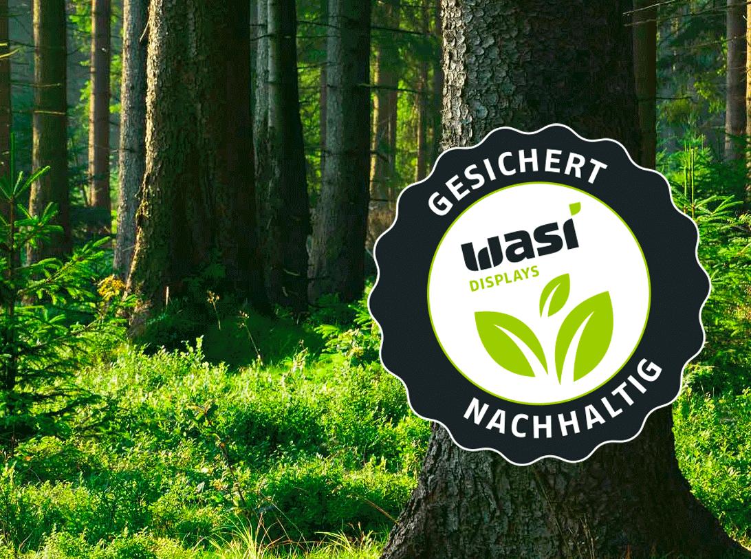 Nachhaltige Produktdisplays Gütesiegel von Wasi Displays