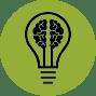 Icon eines Gehirns in Glühbirne umrandet von grünem Kreis