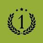 Zahl eins mit Lorbeerkranz und drei übergeordneten Sternen in grünem Kreis