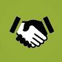 Grüner Kreis mit Icon von schüttelnden Händen