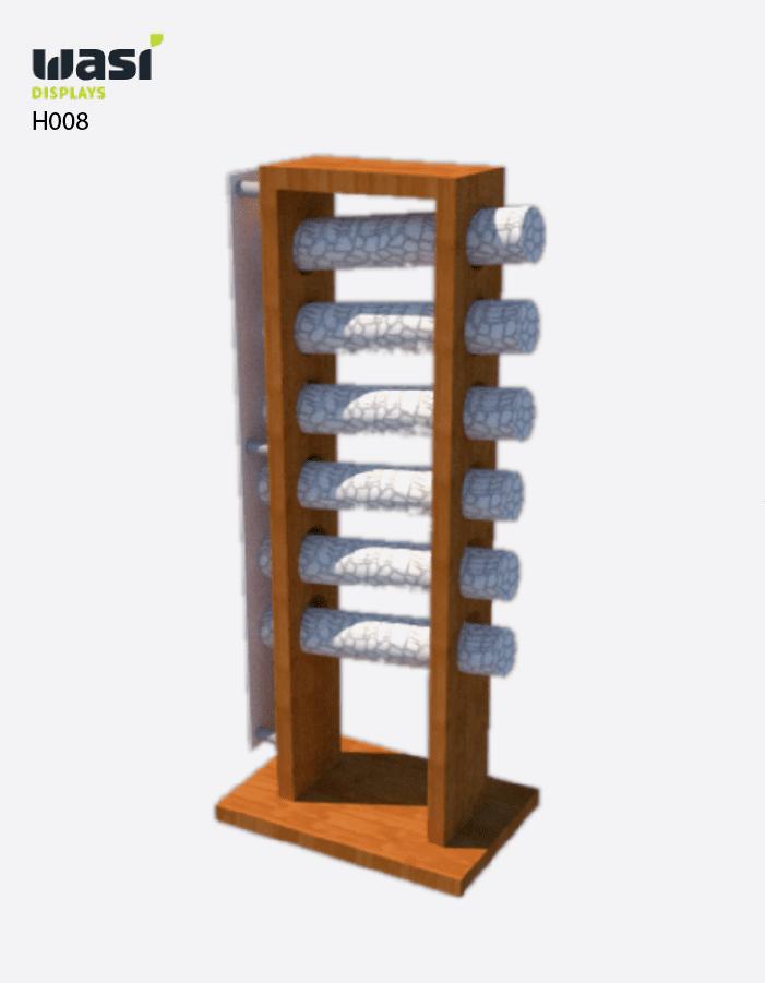 Display-Modell H008 aus Holz für den Baumarkt mit Tapetenrollen