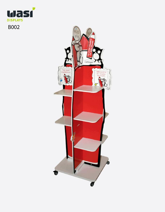 Bodendisplays Modell B002 aus rot lackiertem Holz in Raketenform