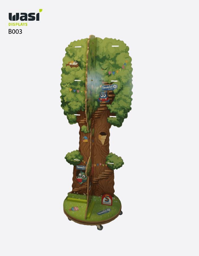 Bodendisplays Modell B003 in Form eines Baumes gefräst und bedruckt