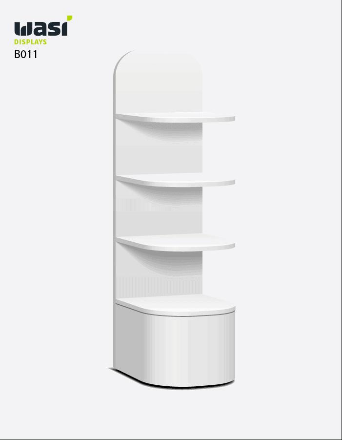 Weiß lackierter Bodenaufsteller mit abgerundeten Ecken und drei Regalböden zur Warenpräsentation