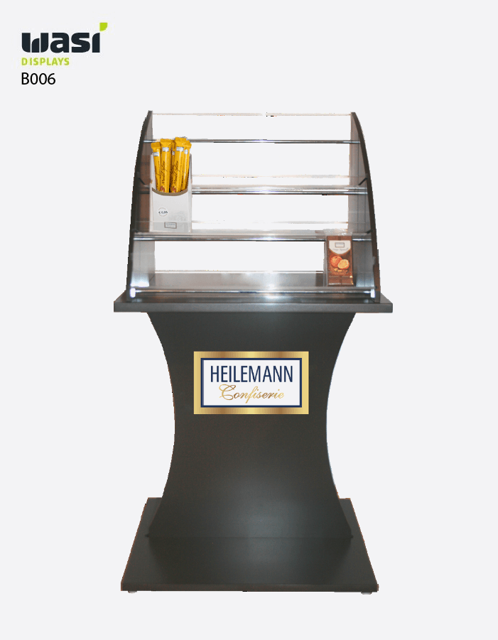 Bodendisplays Modell B006 mit Präsentationsfläche aus Acryl und Heilemann-Logo