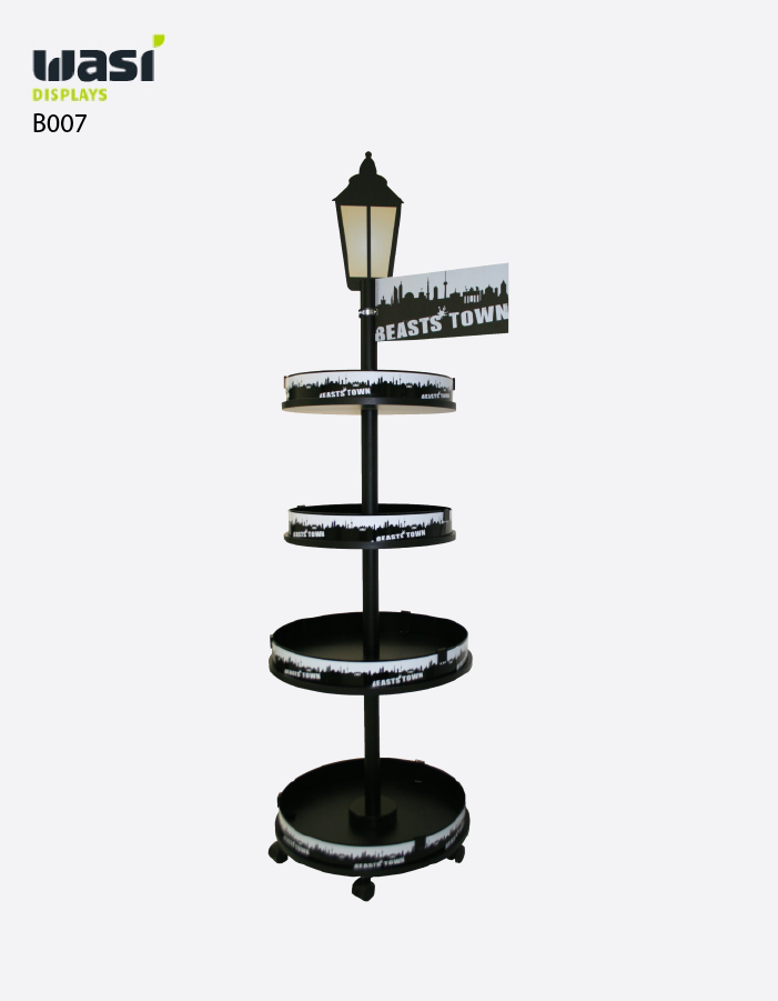 Bodendisplays Modell B007 mit abgerundeten Regalböden in Form einer Straßenlaterne