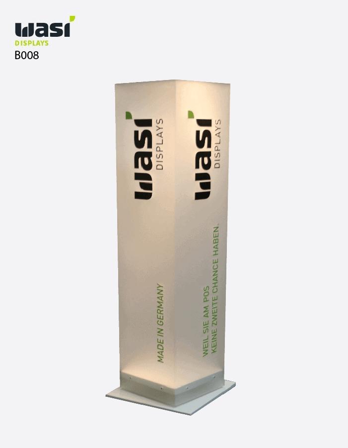 Bodenaufsteller Modell B008 als beleuchtete und bedruckte Stele