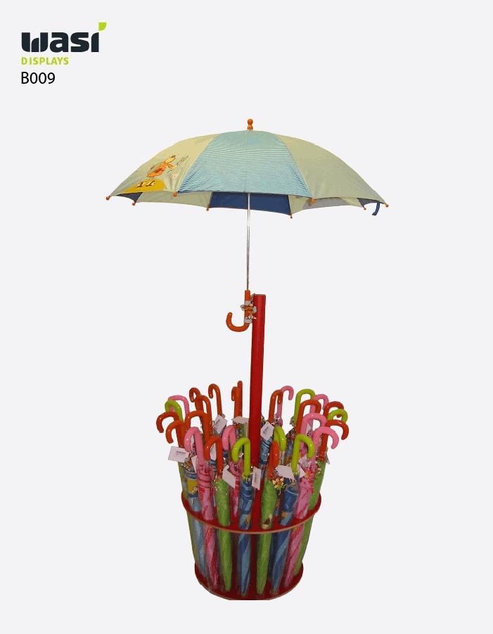 Bodenaufsteller Modell B009 als Warenpräsentation für Regenschirme
