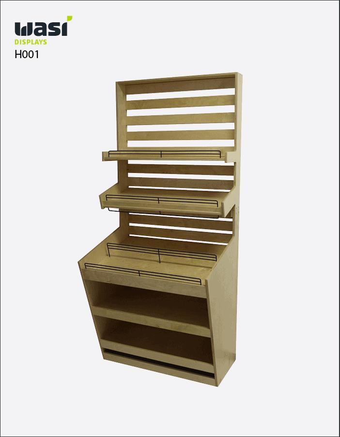 Holzdisplays Modell H001 mit drei Regalböden, Lagerfach und Relings