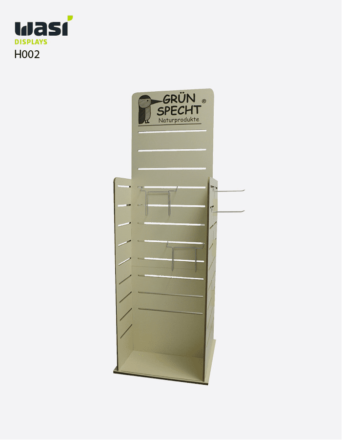 Holzdisplay Modell H002 für Grünspecht mit Aussparungen für Haken und ohne Regalböden