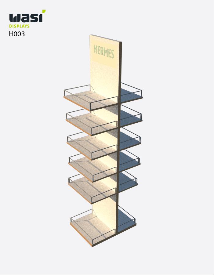 Holzdisplay H003 mit fünf Regalböden auf Vorder- und Rückseite
