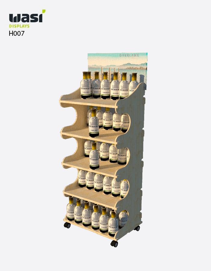 Holzdisplays Modell H007 mit wellenförmigen Regalseiten und bedrucktem Topper
