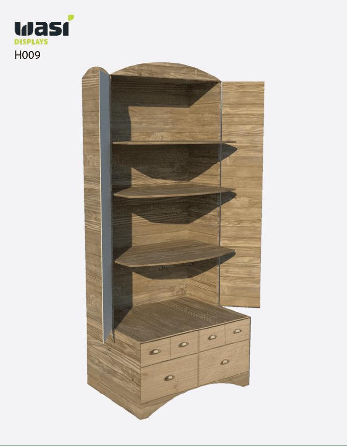 Holzdisplay in Schrankoptik mit drei Regalböden und offenen Seitentüren