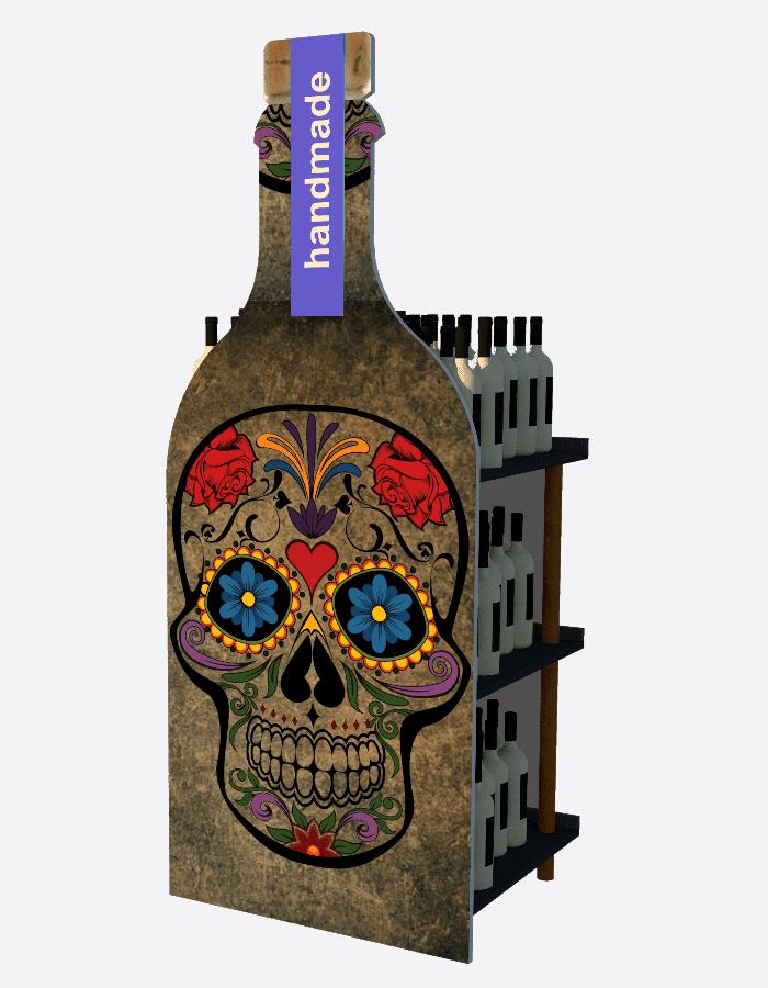 Individuelles Verkausdisplays Bodendisplay in Form einer Ginflasche mit aufgedrucktem Totenkopf