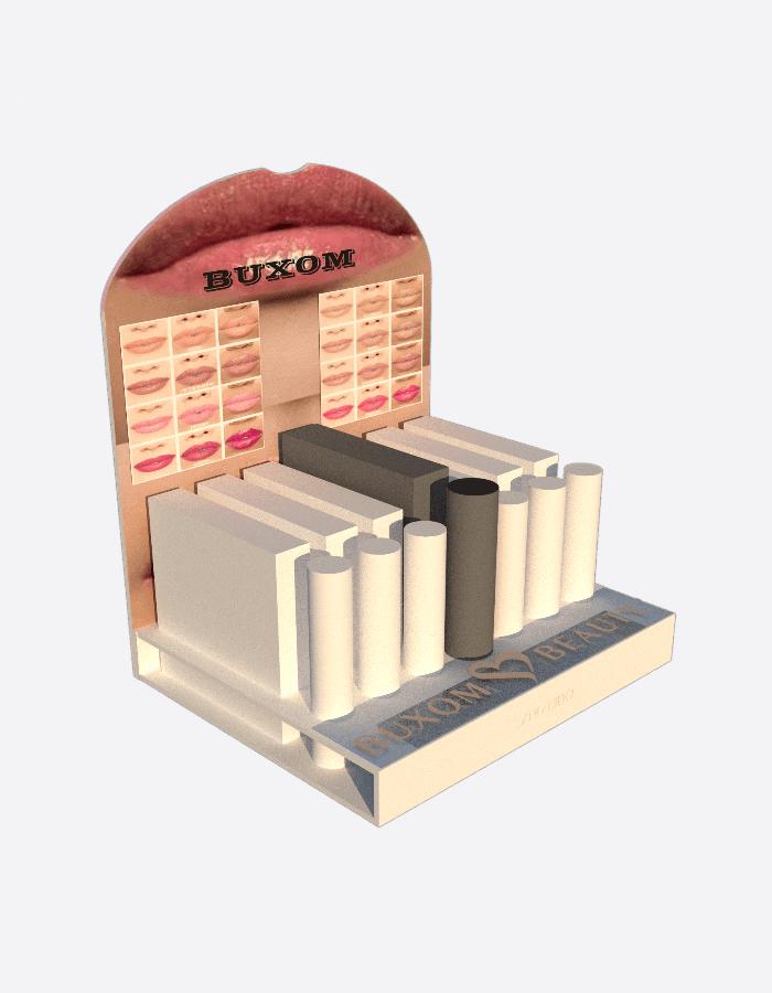 Werbedisplay für Lippenstifte der Firma Buxom bestückt und mit bedrucktem Topper