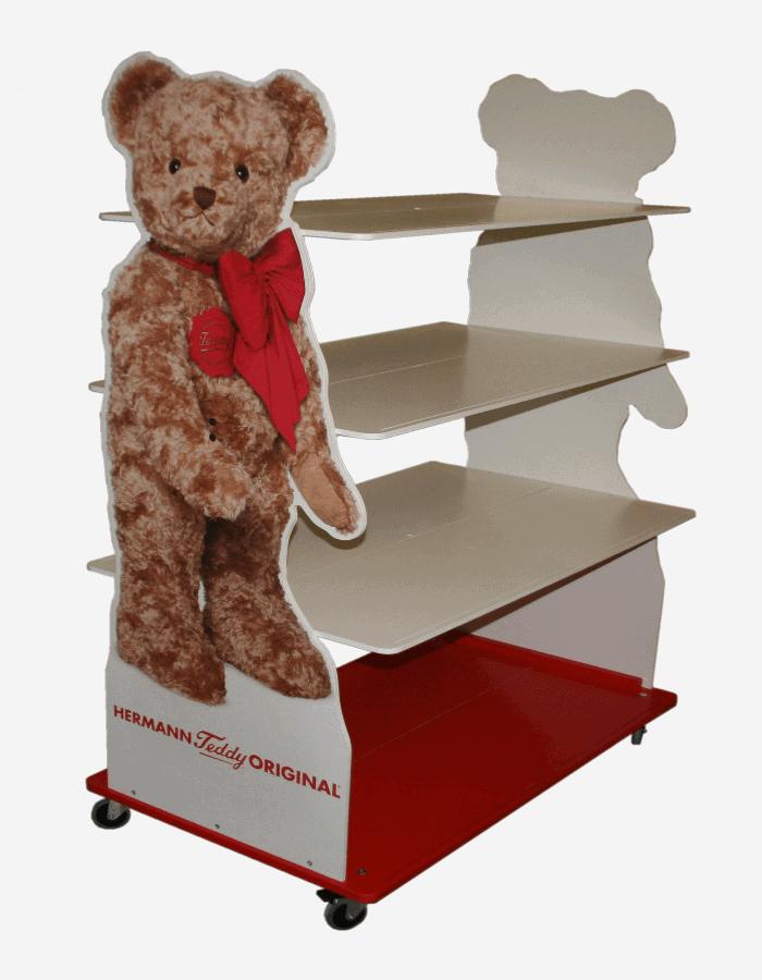 Marketing Displays Aufsteller für Spielwaren mit Teddy als Seitenblende