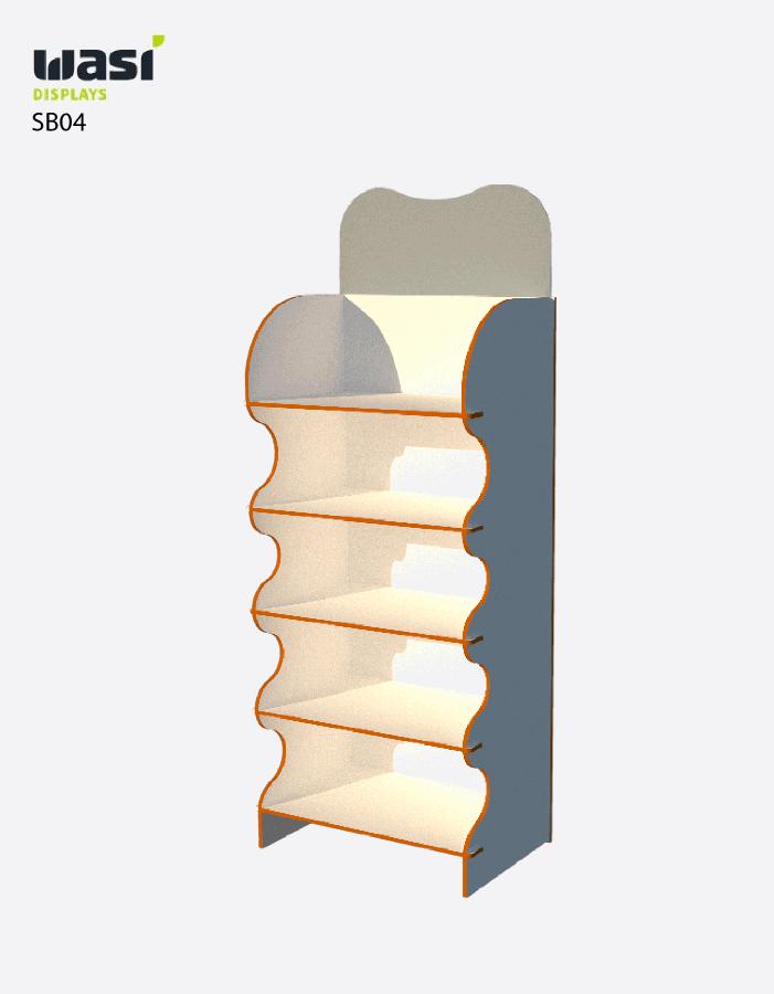 Standardmäßiger Aufsteller für den Boden SB04 mit wellenförmigen Seitenleisten und formgefrästem Topper