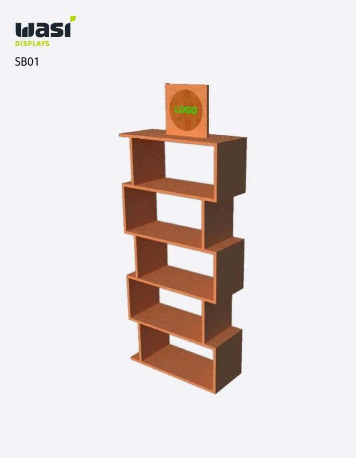 Standard Bodendisplays SB01 aus rechteckigen Holzboxen mit Logo-Druck