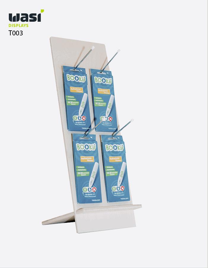Thekenaufsteller Modell T003 aus Holz mit Aufhängern für Produkte
