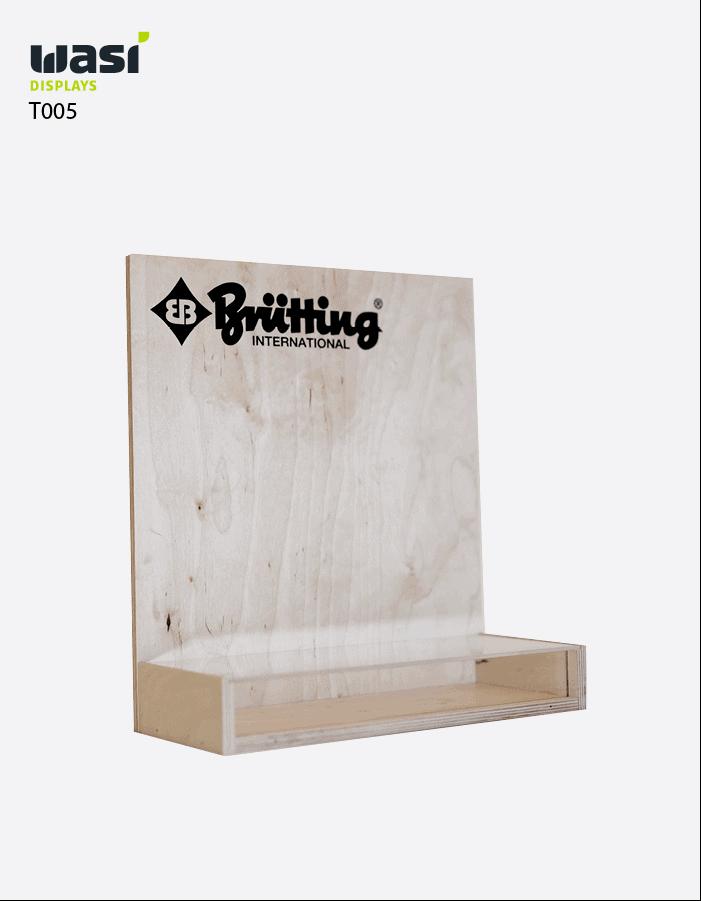 Thekenaufsteller Modell T005 in schlichtem Holzstil mit Acrylglasfläche
