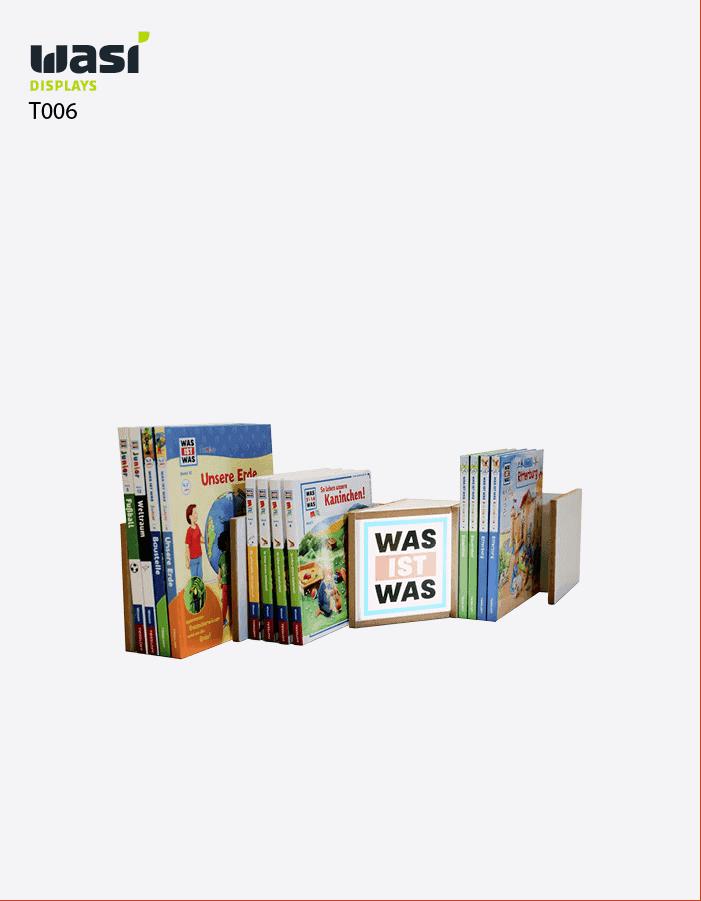 """Thekendisplays Modell T006 für Bücher mit """"Was ist Was""""-Druck"""