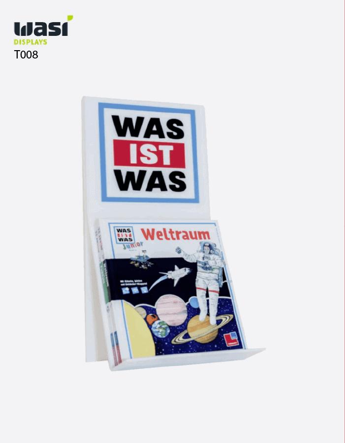 """Thekendisplays Modell T008 mit beleuchtbarem """"Was ist Was""""-Topper und ausgestelltem Buch"""