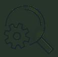 Display-Kompetenz Icon bestehend aus einer Lupe und einem Zahnrad