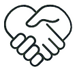 Display Kompetenz Icon von zwei schüttelnden Händen in Herzform