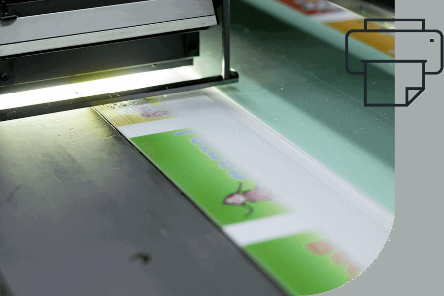 Digitaldrucker bedruckt Seitenblende eines Holzdisplays mit Farbmotiv