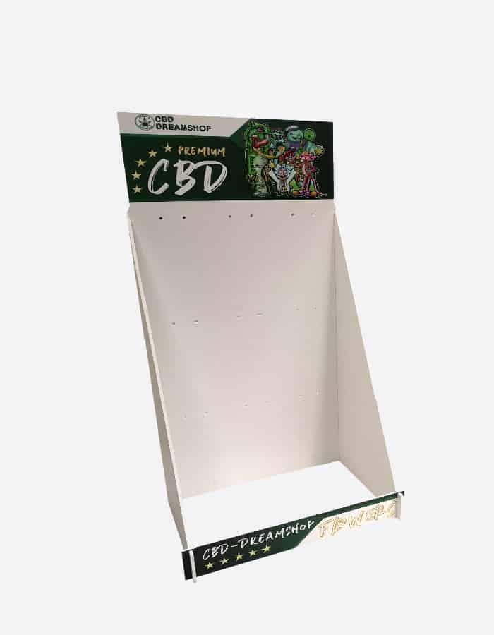 Standard Thekendisplays bunt bedruckt mit CBD-Logo