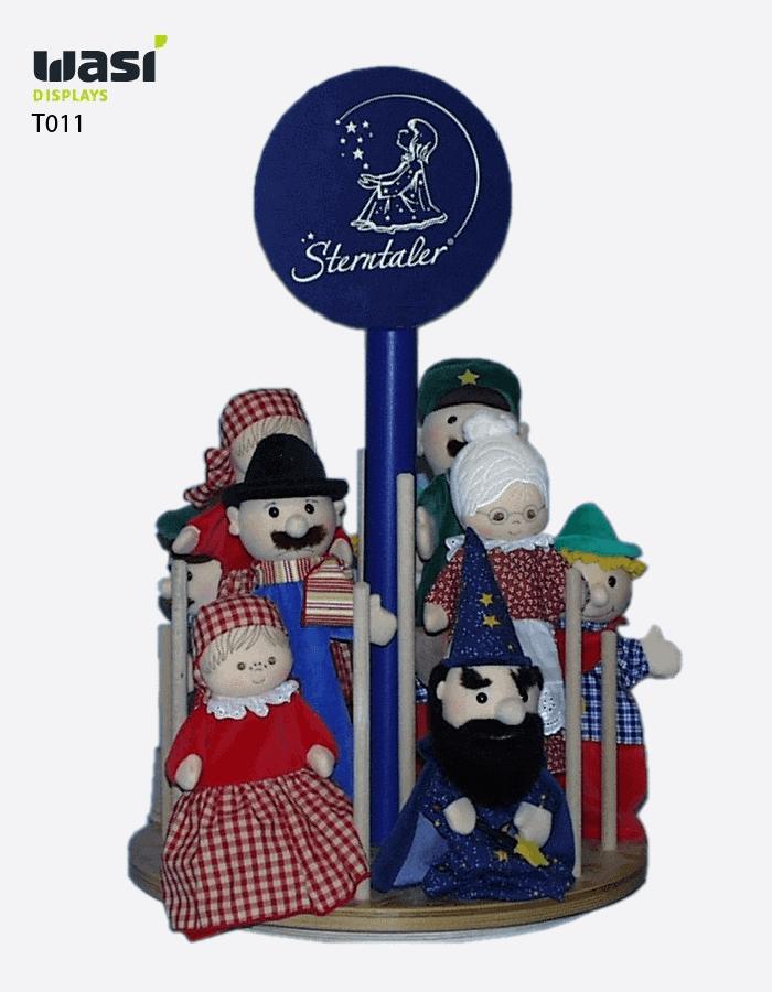 Thekenaufsteller Modell T011 mit Sterntaler-Logoschild und mit Puppen bestückt